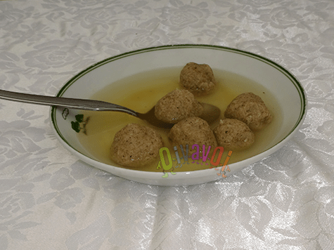 Authentic matzo ball soup