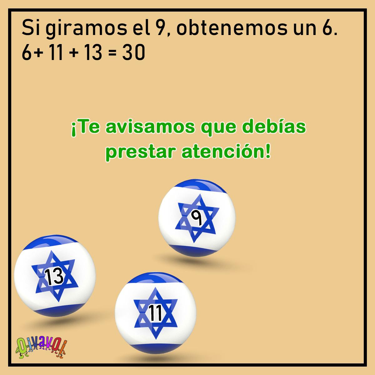 ¿Cómo sumar 30 con banderas de Israel?