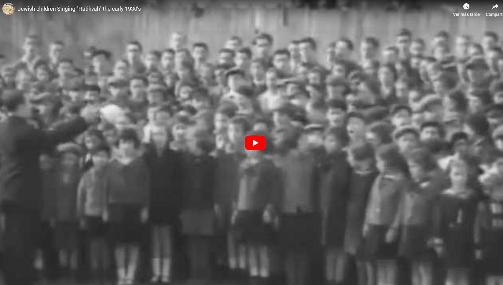 Niños cantando Hatikva en la década del'30