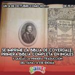 4 de Octubre: Biblia de Coverdale