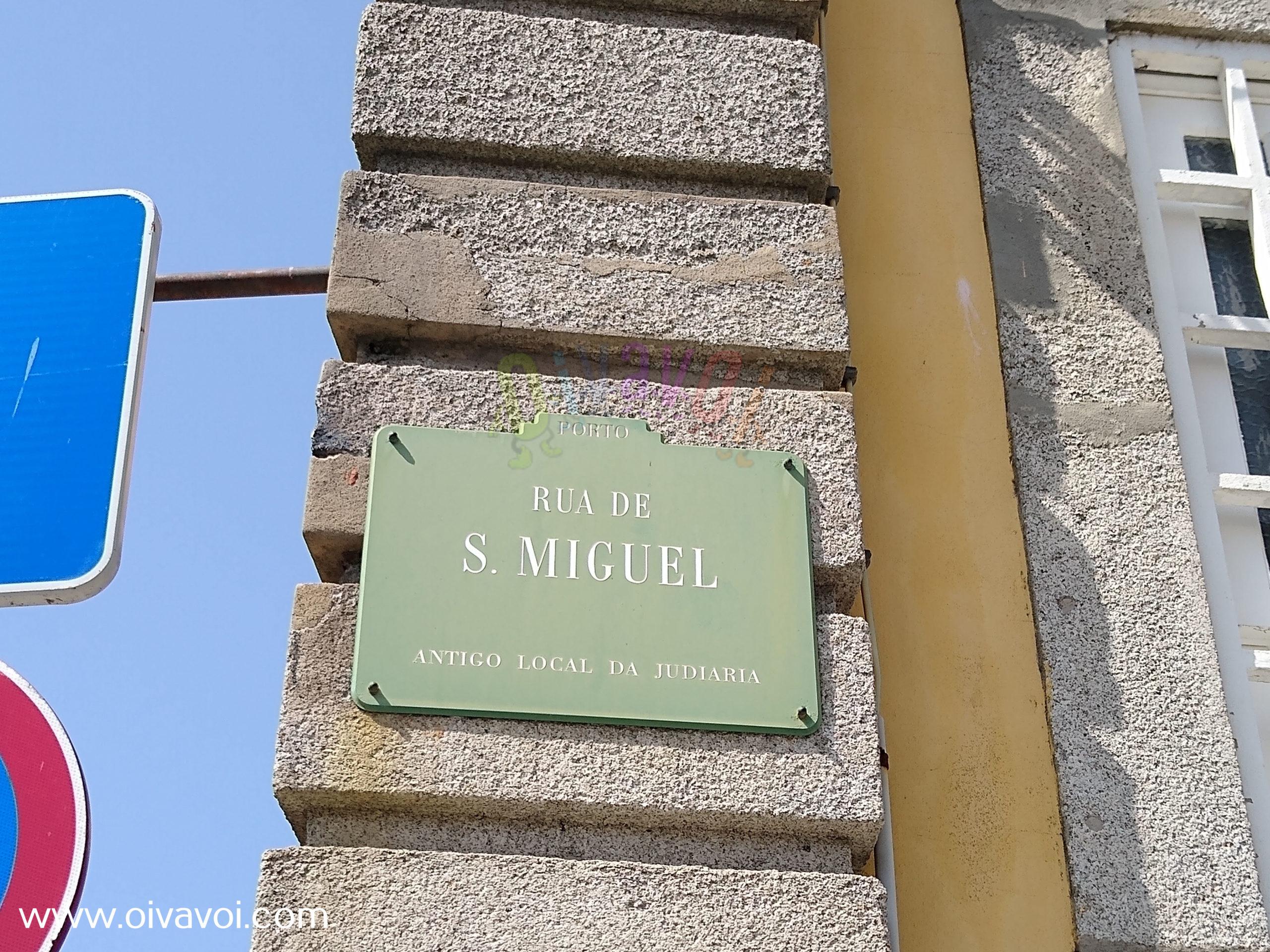 Cartel de la rua de Sao Miguel en Oporto