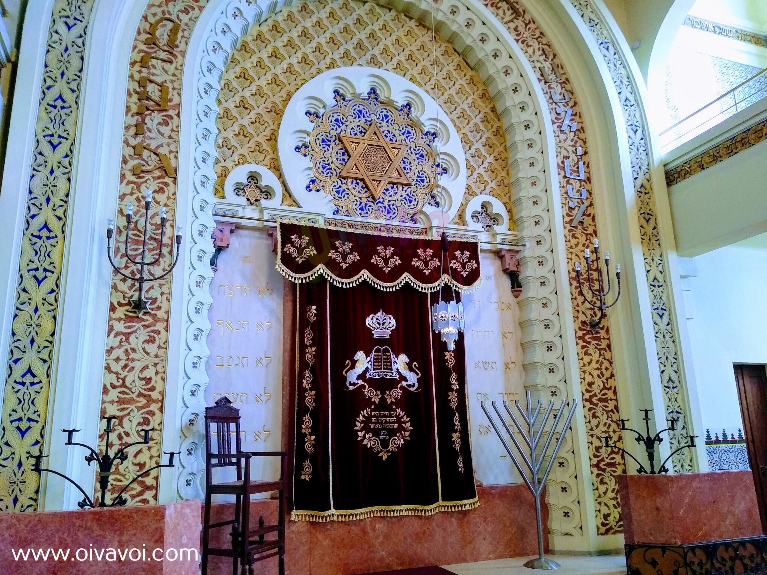 Interior de la sinagoga Kadoorie de Oporto