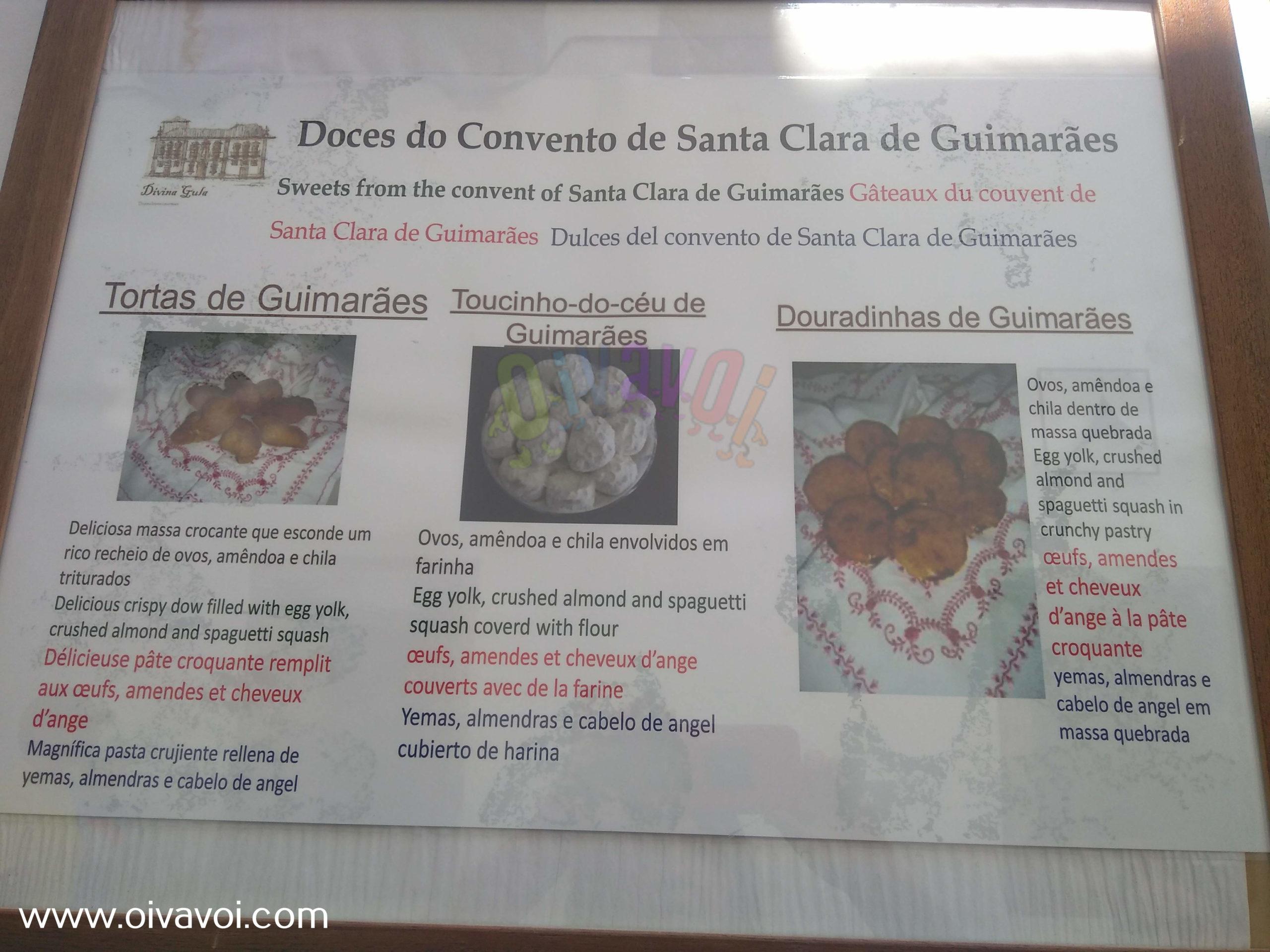 Dulces del convento de Santa Clara en Guimaraes