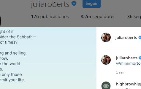 Julia Roberts, Shabat y cuarentena