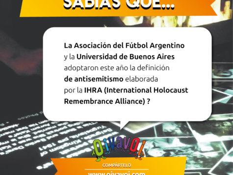 ¿Sabías que la AFA y la UBA adoptaron este año la definición de antisemitismo elaborada por la IHRA?