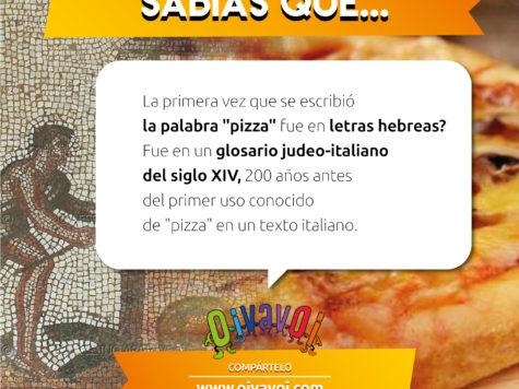 """¿Sabías que la primera vez que se escribió la palabra """"pizza"""" fue en letras hebreas?"""