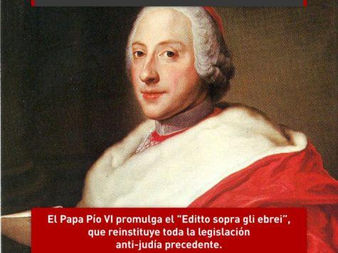 """Pío VI y el """"Editto sopra gli ebrei"""""""